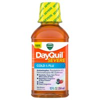 Vicks DayQuil SEVERE Cough, Cold & Flu Relief Liquid, 12 Fl Oz - Relieves Daytime Sore Throat, Fever, and Congestion