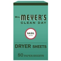 Mrs. Meyer's Clean Day Dryer Sheets Basil Scent - 80ct