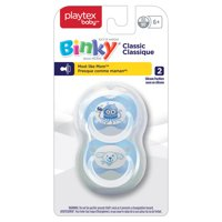 Playtex Baby Binky Classic Silicone Pacifiers, 6 Months+, 2 Pk (Colors May Vary)