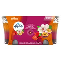 Glade 2in1 Jar Candle 2 CT, Hawaiian Breeze & Vanilla Passion Fruit, 6.8 OZ. Total, Air Freshener, Wax Infused with Essential Oils