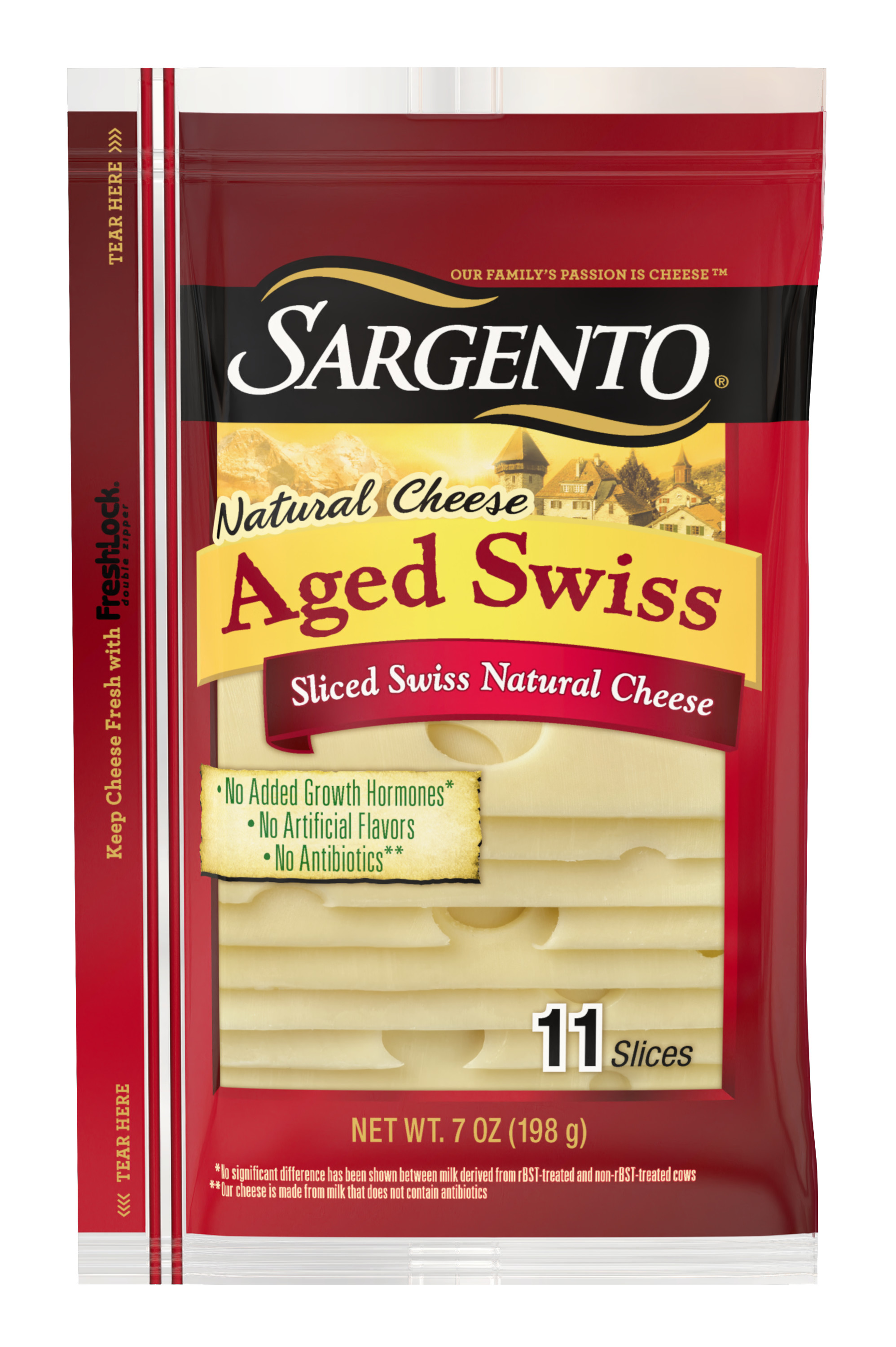 Sargento® Sliced Aged Swiss Natural Cheese, 11 slices