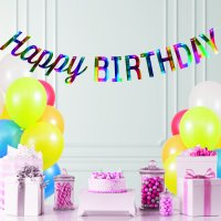 Rainbow Foil Happy Birthday Banner