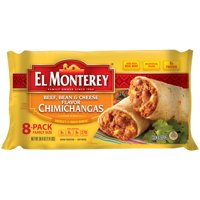 El Monterey Beef, Bean, and Cheese Chimichangas, Authentic Mexican Recipe Frozen Chimichangas, 8 Count Bag