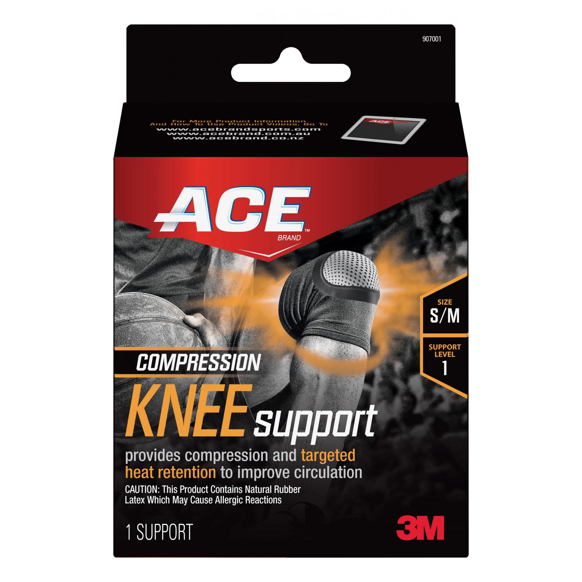 ACE Compression Knee Support, Small/Medium, Black