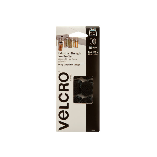 VELCRO® Brand Industrial Strength Low Profile Ovals with Adhesive, 1in x 3/4in Ovals, Black 10 ct