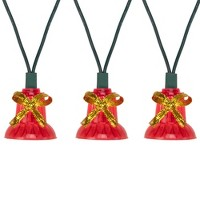 Northlight 40-Count Red Bells with Musical Christmas Light Set, 13ft Green Wire