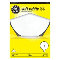 GE Incandescent 100W, G40 Large Globe, Soft White Color, E26 Medium Base, 2 Year Life, 1pk