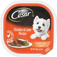 CESAR Soft Wet Dog Food Classic Loaf in Sauce Chicken & Liver Recipe, 3.5 oz. Easy Peel Tray