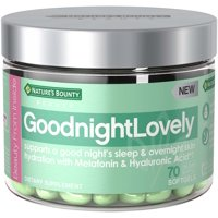 Nature's Bounty® GoodnightLovely Dietary Supplement with Melatonin & Hyaluronic Acid, Supports Overnight Skin Hydration & Good Night's Sleep, 70 softgels