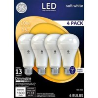 GE LED 17W Soft White General Purpose, A21 Medium Base, Dimmable, 4pk Light Bulbs
