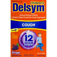Delsym Children's Cough Suppressant 12 Hour Relief Day Or Night Grape Flavored Liquid