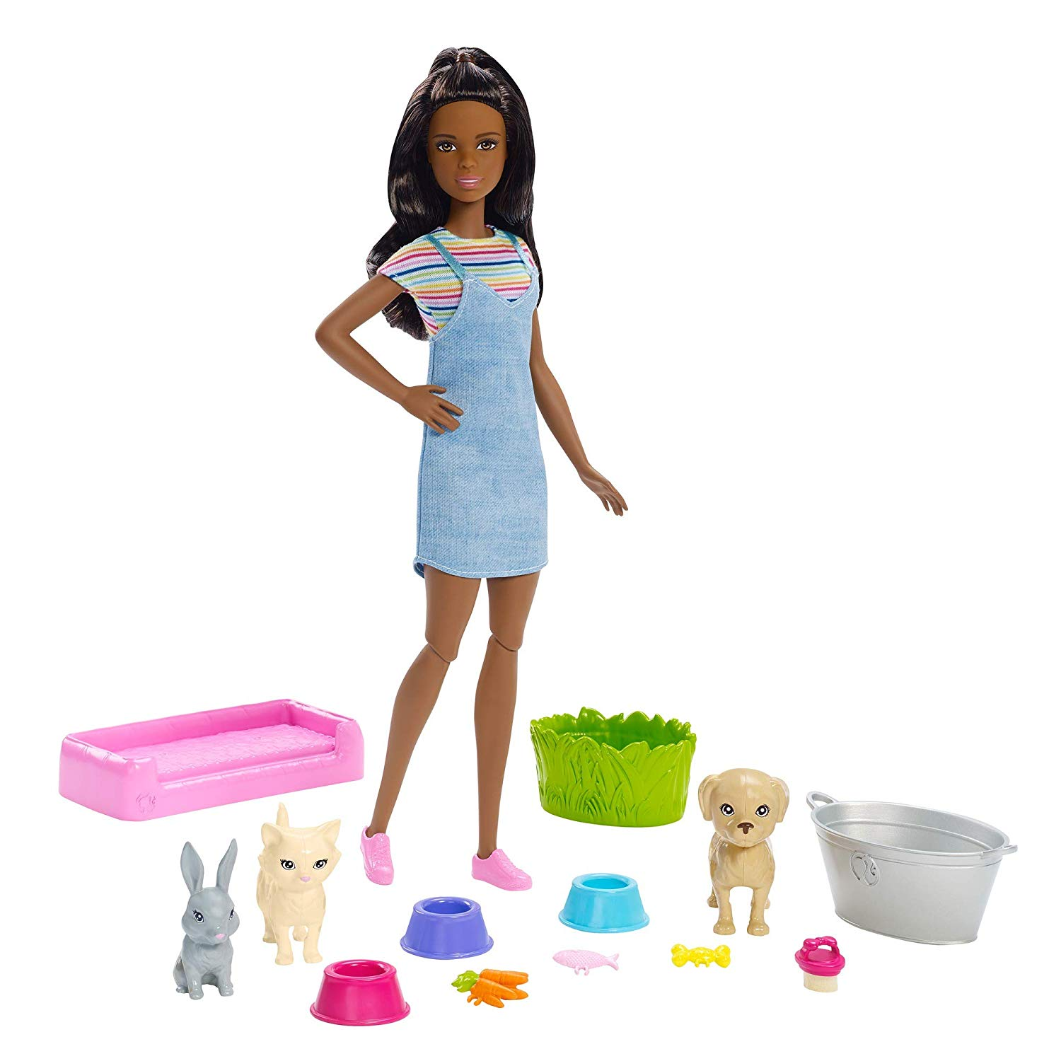 Barbie Play 'N' Wash Pets Playset with Brunette Doll & Accessories