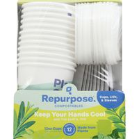 Repurpose Cups, Lids, & Sleeves, Compostables, 12 Ounce
