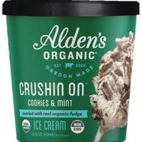 Alden's Aldens Organic Ice Cream, Cookies & Mint, Crushin On, Organic, Cup