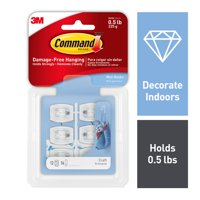 Command Clear Mini Hooks & Strips Pack, 28 Piece