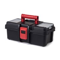 Hyper Tough 13-Inch Tool Box, Plastic Tool and Hardware Storage, Black