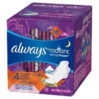 Always Radiant Size 4 Scented Overnight Sanitary Pads With Wings - 10ct