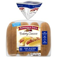 Pepperidge Farm Bakery Classics Top Sliced White Hot Dog Buns, 14 oz. Bag, 8-Count