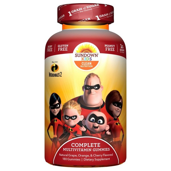 Disney The Incredibles 2 Complete Multivitamin Gummies - Grape, Orange & Cherry - 180ct