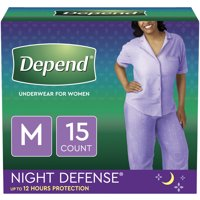Depend Night Defense Incontinence Underwear for Women, Overnight, M, Blush, 15 Count