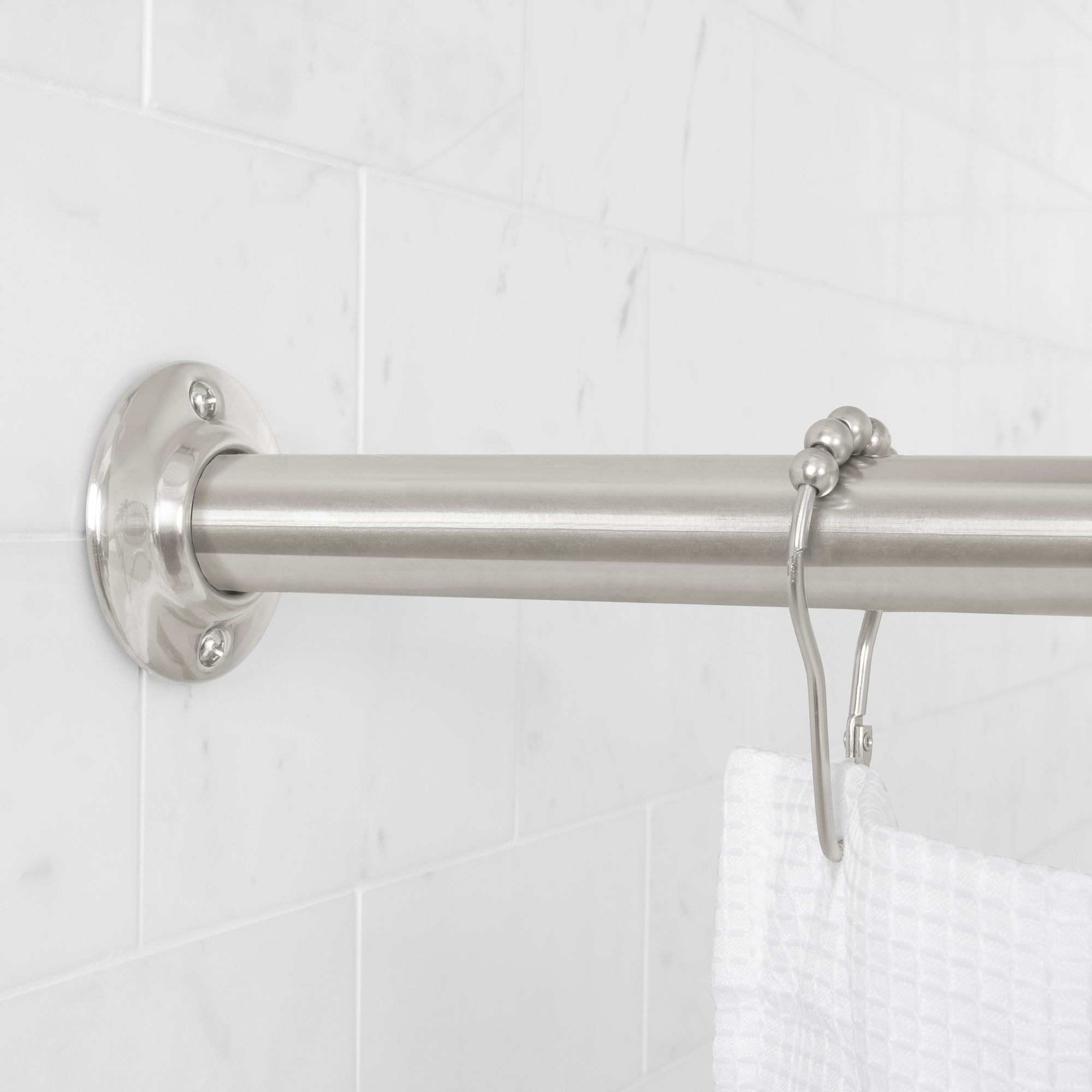 Mainstays Permanent Straight Shower Curtain Rod 41 in – 72 in, Brushed Nickel