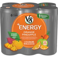 V8 +Energy, Healthy Energy Drink, Natural Energy from Tea, Orange Pineapple, 8 Ounce Can (Pack of 6)