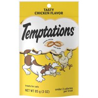 TEMPTATIONS Classic Crunchy and Soft Cat Treats Tasty Chicken Flavor, 3 oz. Pouch