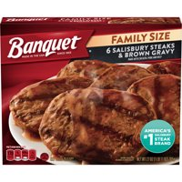 Banquet Family Size Salisbury Steaks and Brown Gravy Frozen Meal, 27 Ounce