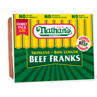 Nathan's Famous Bun Length Skinless Original Beef Franks, 32 Oz., 16 Count