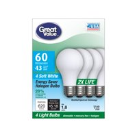 Great Value Halogen 43W (60W Equivalent) Soft White Color, 1.8 Year Life, E26 Medium Base, Dimmable, 4pk Light Bulbs
