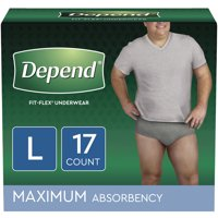 Depend FIT-FLEX Incontinence Underwear for Men, Maximum Absorbency, L, Grey, 17 Count
