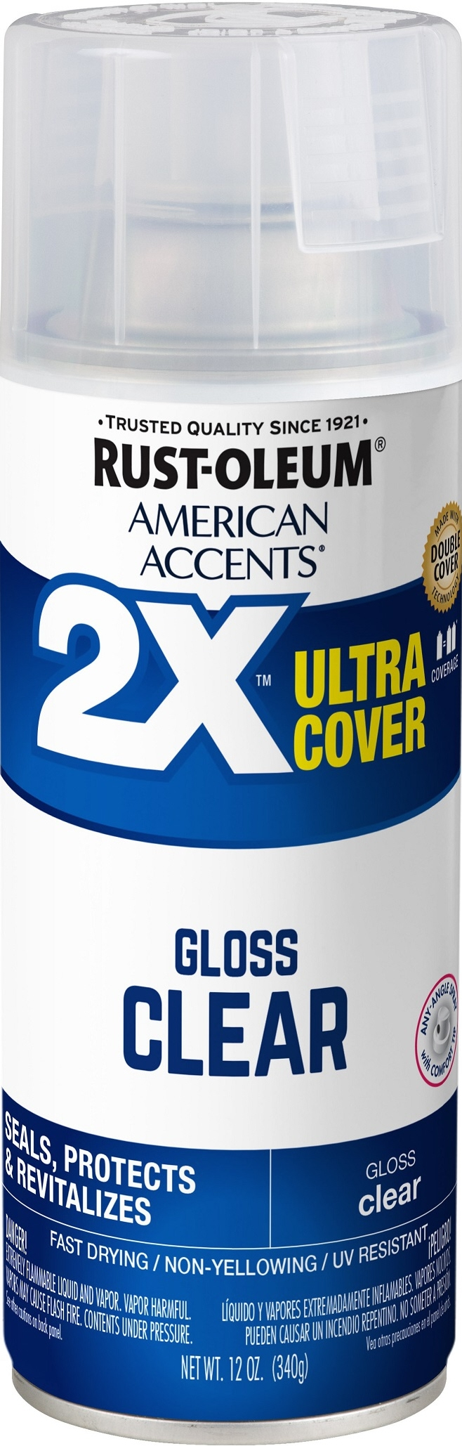 (3 Pack) Rust-Oleum American Accents Ultra Cover 2X Gloss Clear Spray Paint and Primer in 1, 12 oz