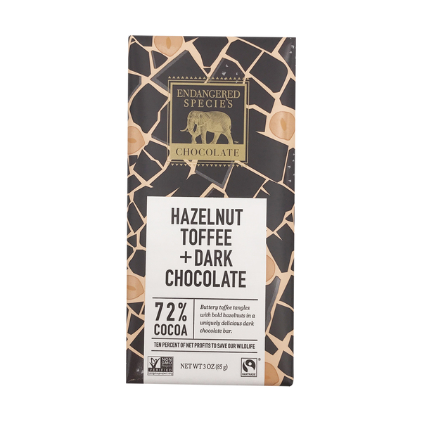Endangered species chocolate 72% Dark Chocolate With Hazelnut Toffee, 3 oz