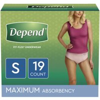 Depend FIT-FLEX Incontinence Underwear for Women, Maximum Absorbency, S, Blush, 19 Count