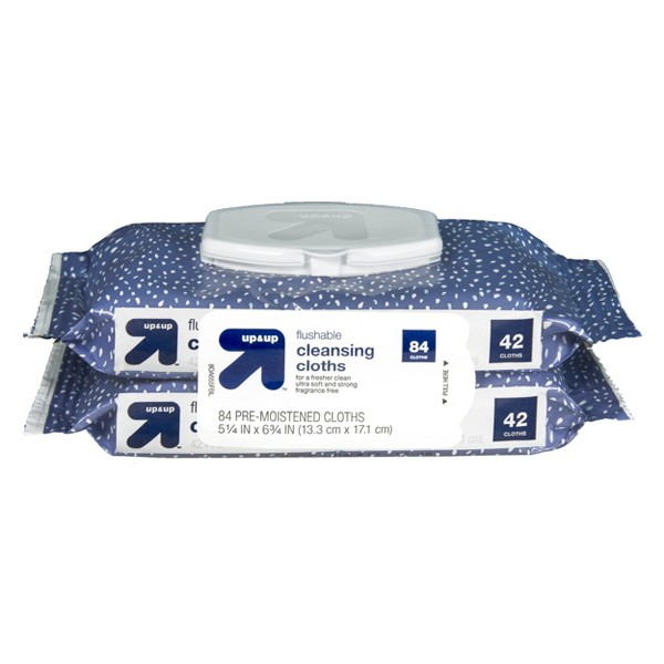 Flushable Pre-Moistened Cleansing Cloths - 84ct - Up&Up™