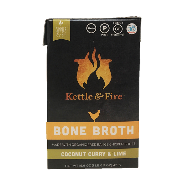 Kettle & fire Coconut Lime Curry Chicken Bone Broth, 16.9 oz