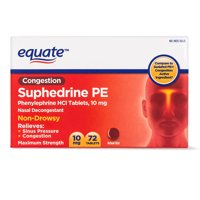 Equate Congestion Suphedrine PE Nasal Decongestant Tablets 10mg, 72 Ct
