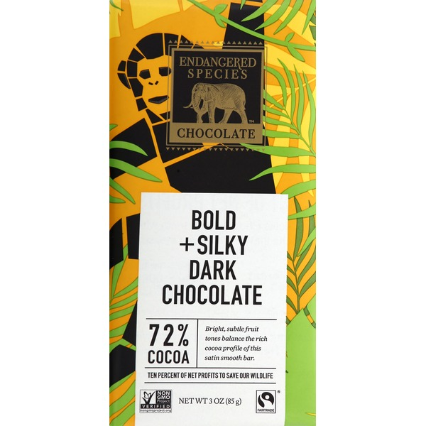 Endangered Species Dark Chocolate, Bold + Silky, 72% Cocoa