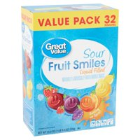 Great Value Sour Liquid Filled Fruit Smiles Pouches, 32 pouches