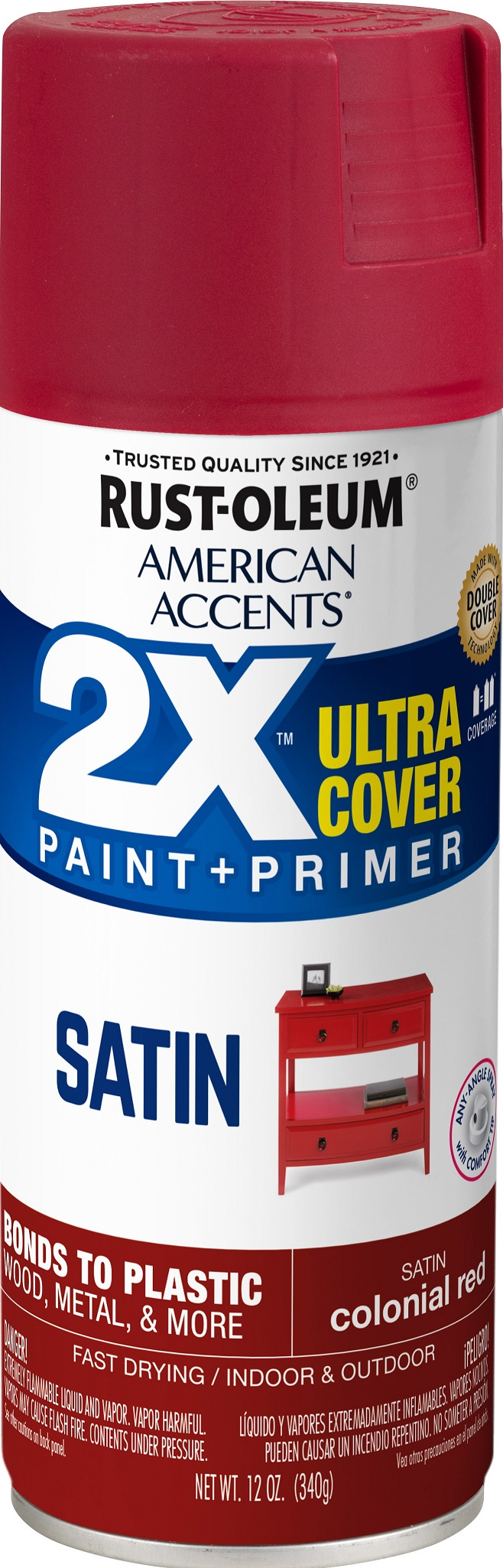 (3 Pack) Rust-Oleum American Accents Ultra Cover 2X Satin Colonial Red Spray Paint and Primer in 1, 12 oz
