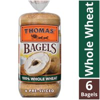 Thomas' 100% Whole Wheat Soft & Chewy Pre-Sliced Bagels, 6 count, 20 oz