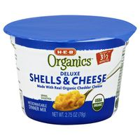 H-e-b Organics Deluxe Shells & Cheese, Microwaveable Dinner Mix