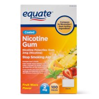 Equate Coated Nicotine Polacrilex Gum, 2 mg (nicotine), Fruit Flavor, Stop Smoking Aid, 100 Count
