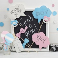 """10ct """"Grab A Prop"""" Gender Reveal Photo Booth Props"""