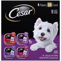 (24 Pack) CESAR Wet Dog Food Classic Loaf in Sauce Beef Recipe, Filet Mignon, Grilled Chicken and Porterhouse Steak Variety Pack, 3.5 oz. Easy Peel Trays
