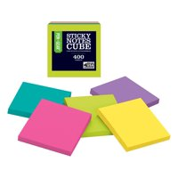 Wal-Mart Sticky Notes Cube, 3x3, assorted bright notes, 400 sheets, Single cube