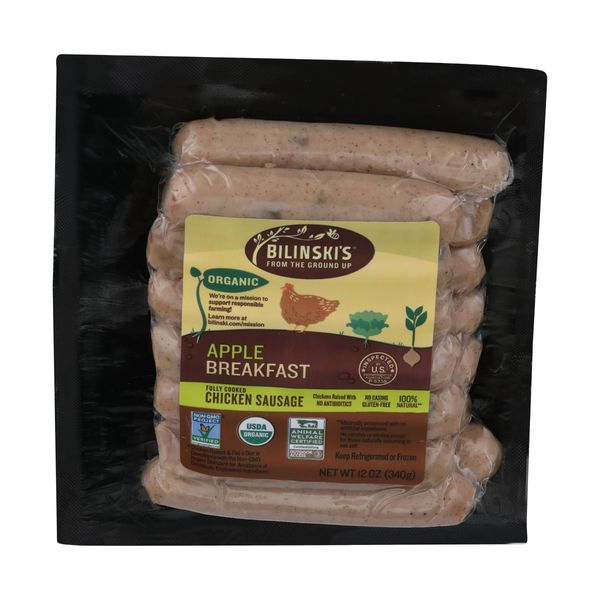 Organic Breakfast Chicken Sausage Apple, 12 oz