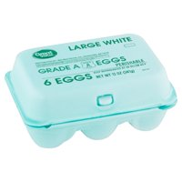 Great Value Large White Eggs, 6 count, 12 oz