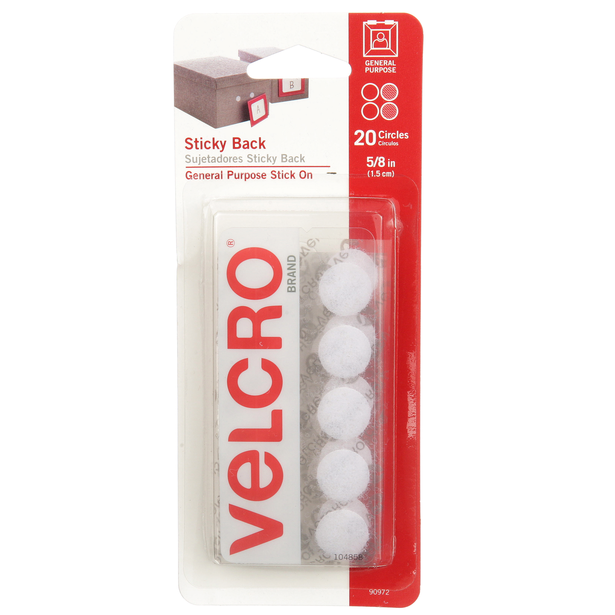 VELCRO® Brand Sticky Back 5/8in Circles White 20 ct