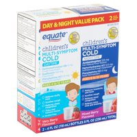 Equate Children's Daytime/Nighttime Multi-Symptom Cold Liquid, 4 fl oz, 2 count